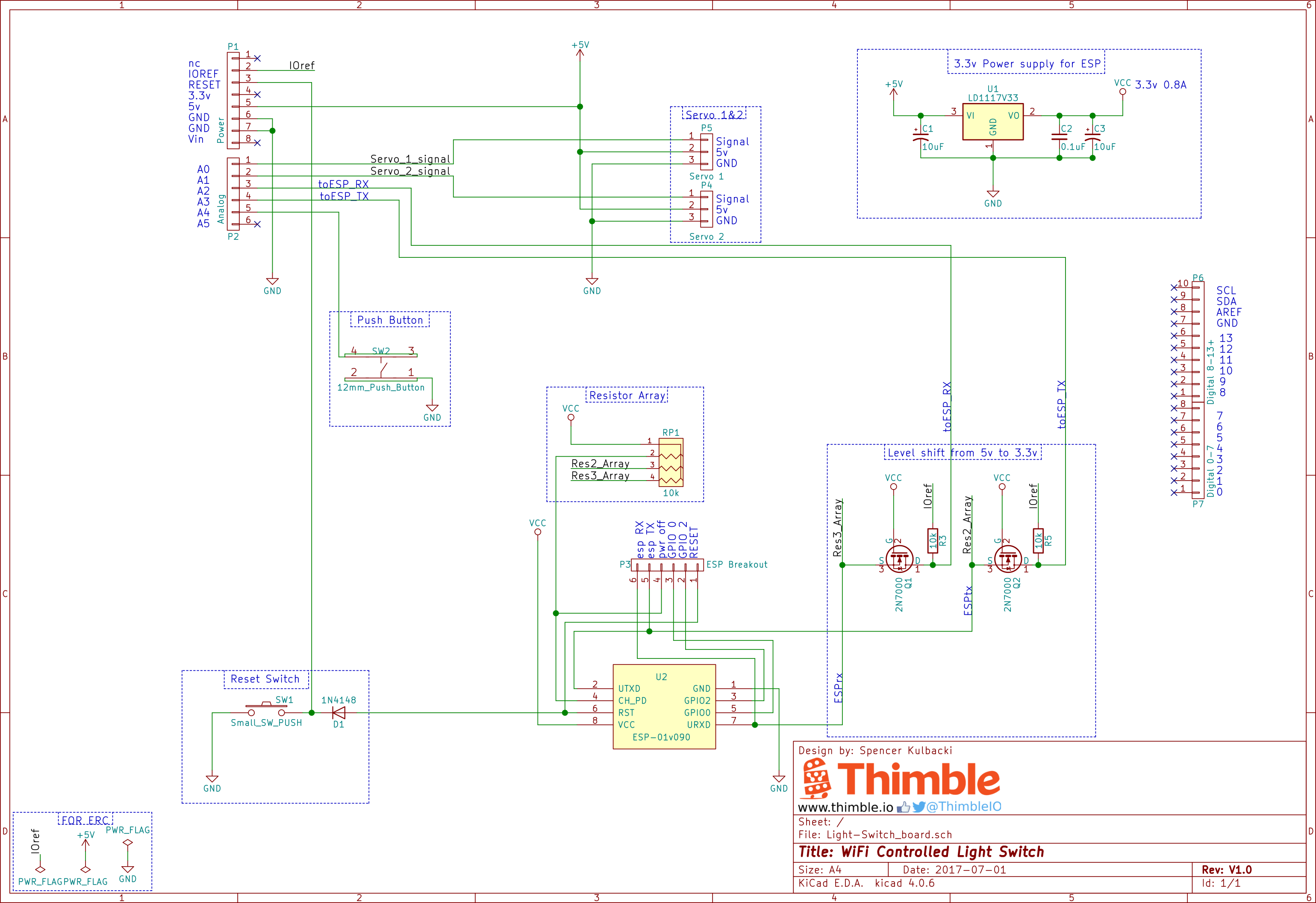 Thimble WiFi Light Switch Schematic