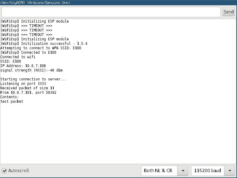 Monitor the results of the WifiBotUDP.ino Sketch