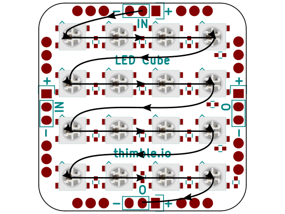 Individual pixel connections within a single PCB